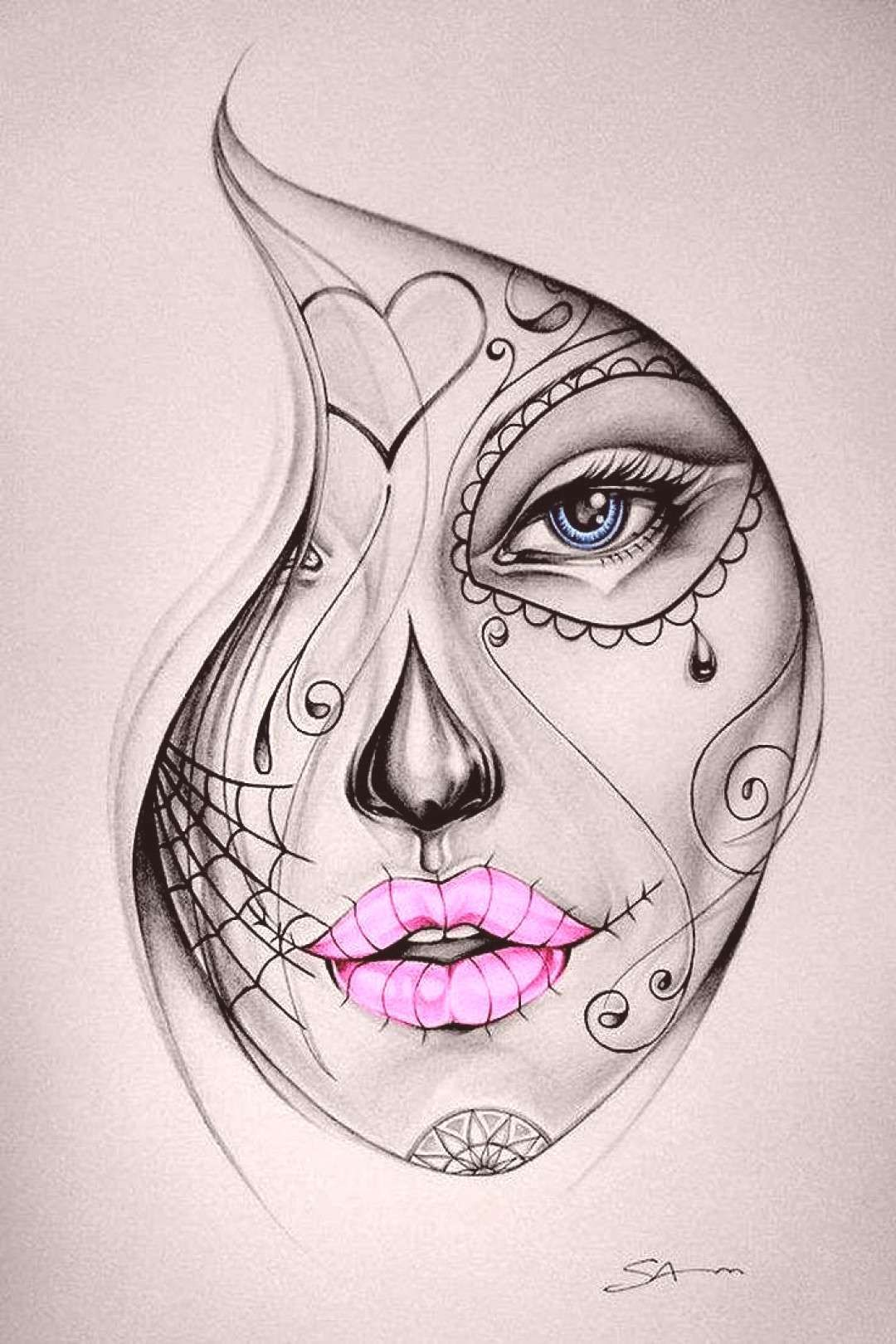 Tattoo Colour Candy Skull Girl Candy Skull Girl Tattoo Colouryou Can Find Candy Skulls And More On Our We In 2020 Skull Girl Tattoo Sketch Tattoo Design Sketches