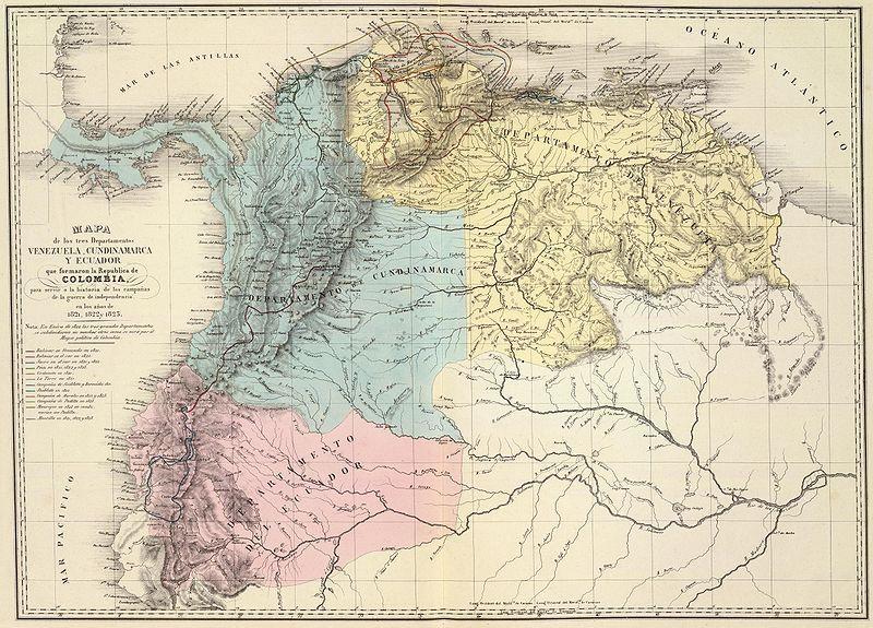 Mapa de los tres departamentos Venezuela Cundinamarca y Quito