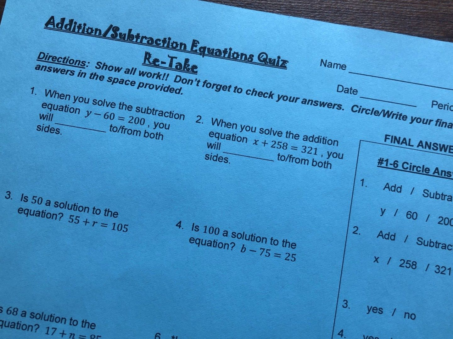 Addition And Subtraction Equations Quiz Practice Quiz