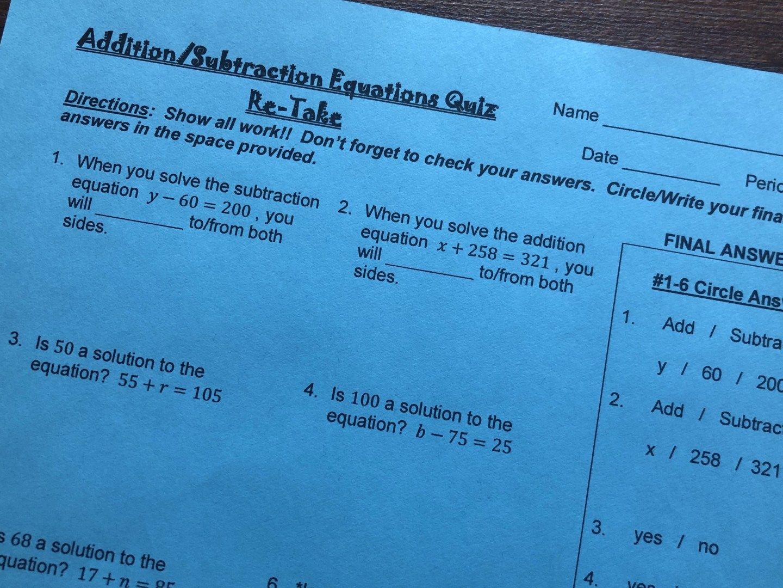 Addition And Subtraction Equations Quiz Practice Quiz