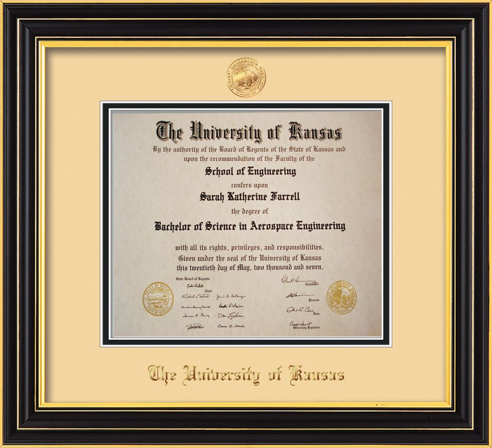 University of Kansas Diploma Frame - Satin Black - w/KU Embossed ...