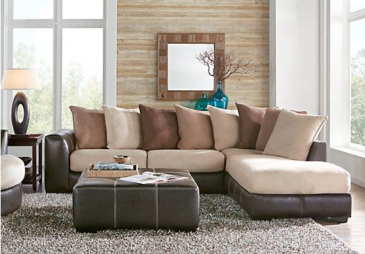 Gregory Brown 6 Pc Sectional Living Room Plus Hdtv Affordable Living Room Set Living Room Sectional Rooms To Go