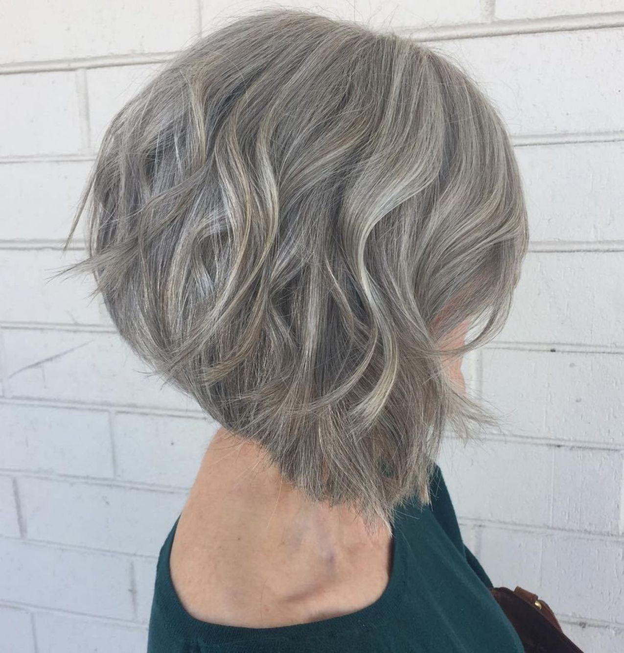 Over Gray Stacked Wavy Bob Gorgeous Gray Hair Hair Styles Thick Hair Styles