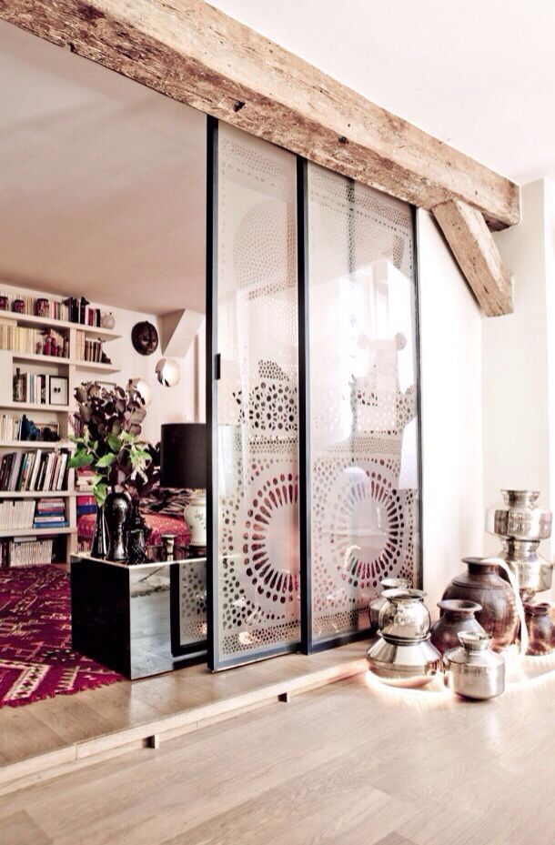 Design On Glass Doors Rustic Beams + Sliding Glass Room Dividers   Love  This Look!
