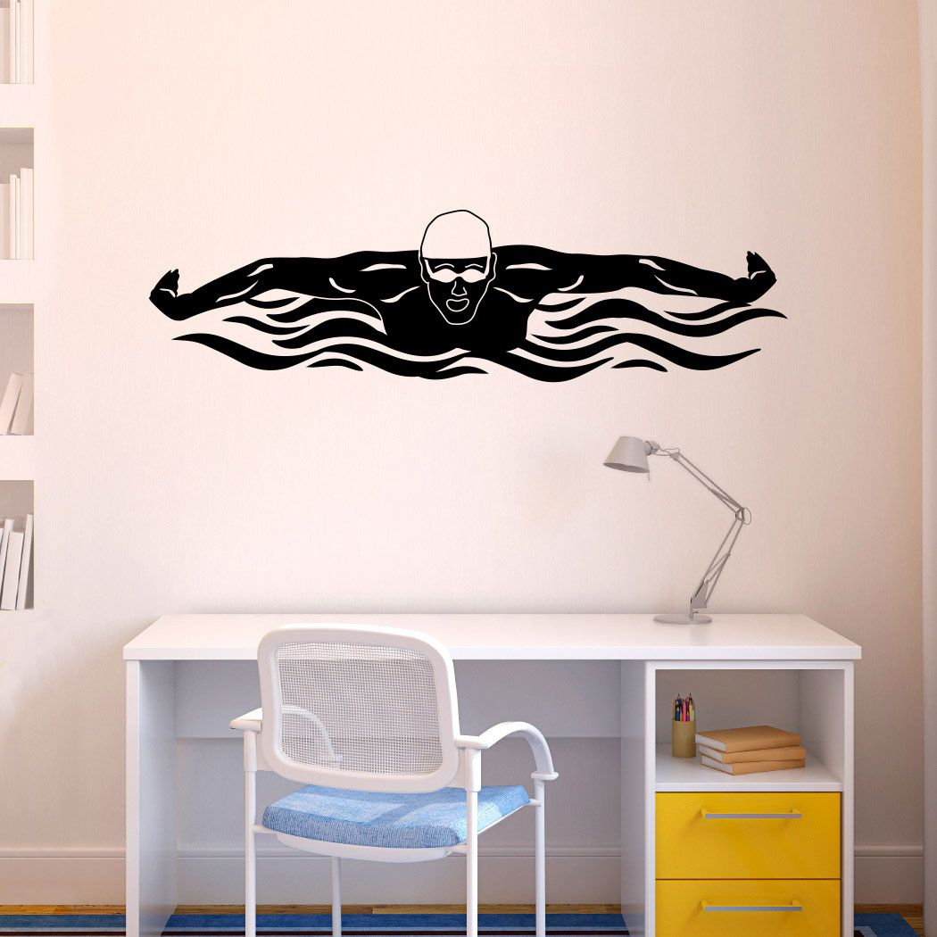 butterfly swimmer removable wall decal swimming decals butterfly swimmer removable wall decal swimming decals swimming stickers
