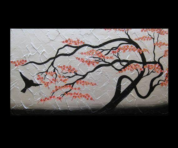 Red Black Silver Medium Size Japanese Painting With Bird Cherry Blossom Design Birds Branch Tree Trees Zen P Cherry Blossom Painting Japanese Painting Bird Art