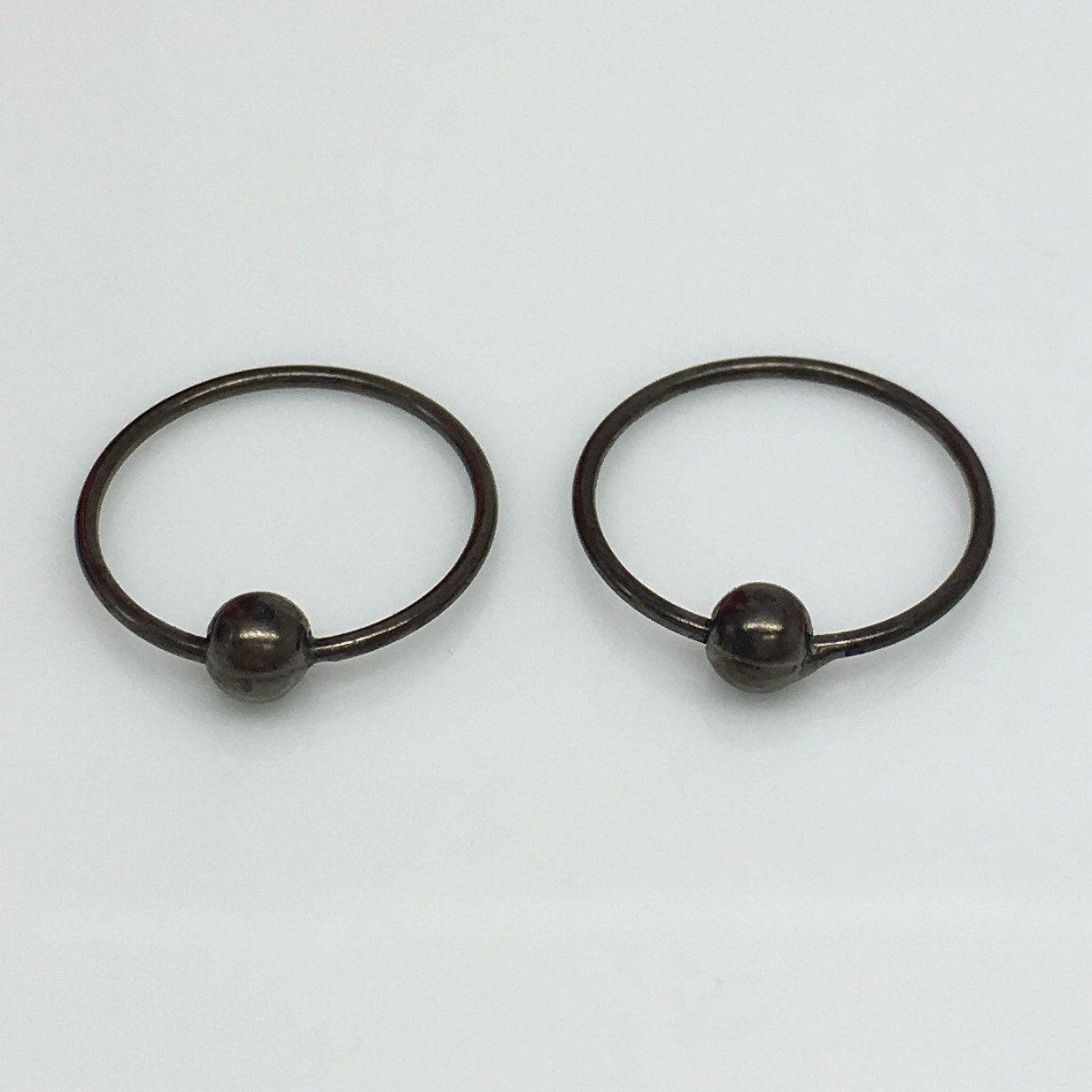 Midnight globule hoop earrings, thin wire hoops, black hoop earrings ...