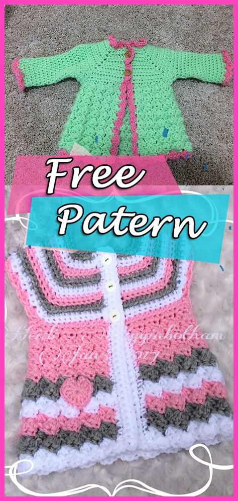 "Baby Cardigan ""Stripes and Bubbles"" Crochet Free Pattern Sweater ..."