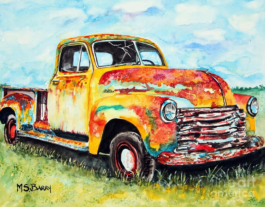 Rusty Old Truck Painting by Maria Barry | art | Pinterest | Truck ...