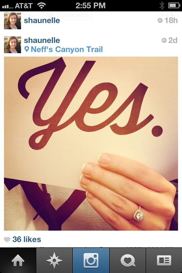 Clever way to announce an engagement. Love it!!