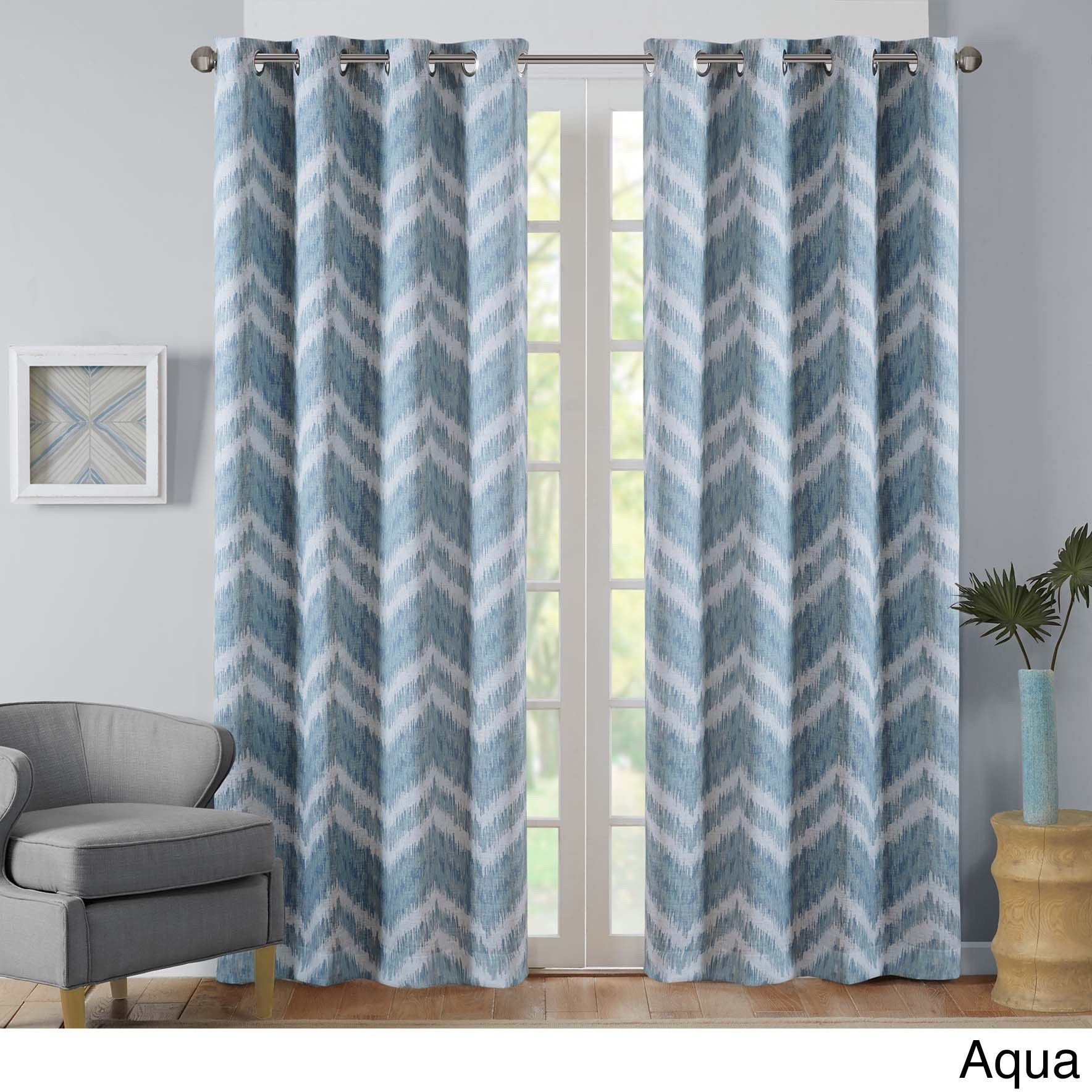 Intelligent Design Nara Ikat Printed Curtain Panel with Blackout Lining