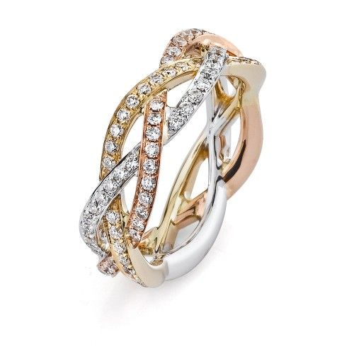 Ladies Parade Diamond Anniversary Ring in Tri-Tone Gold