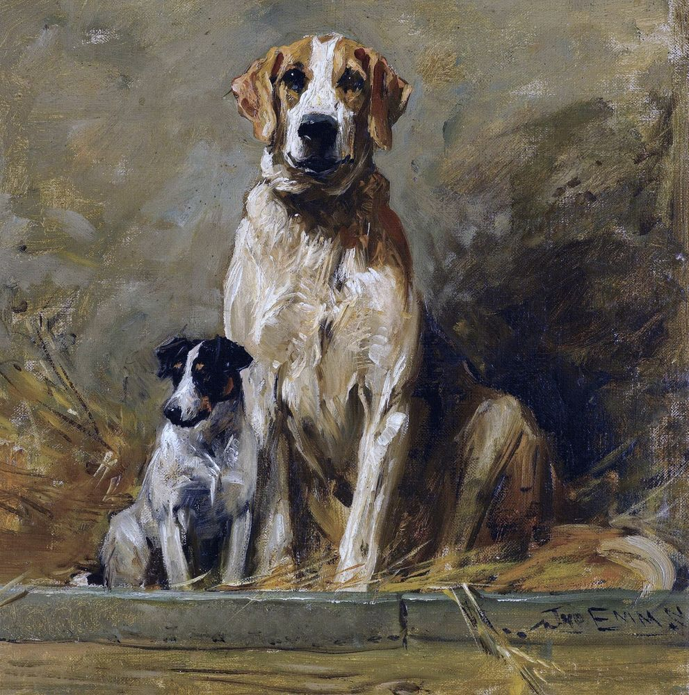 HUNTING COMPANIONS HOUND DOGS CANINE PAINTING PET DOG ART REAL CANVAS PRINT