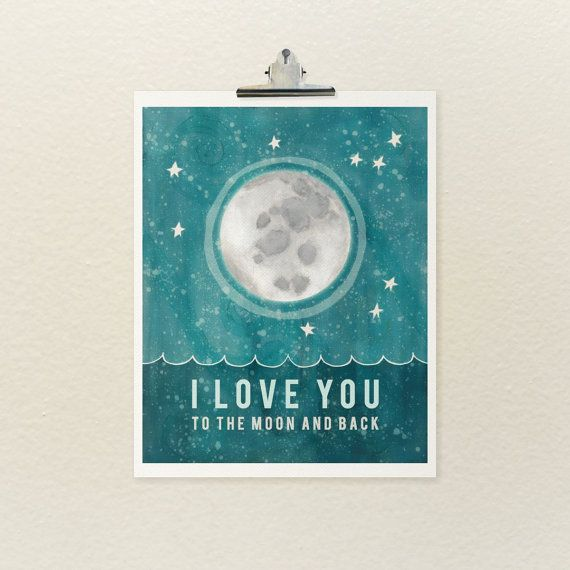 To the Moon and Back by LisaBarbero #Illustration #Typographic_Print #Moon_and_Stars #Baby_Room_Decor