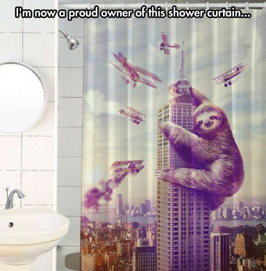 King Sloth Curtain Funny Shower Curtains Curtains Fabric