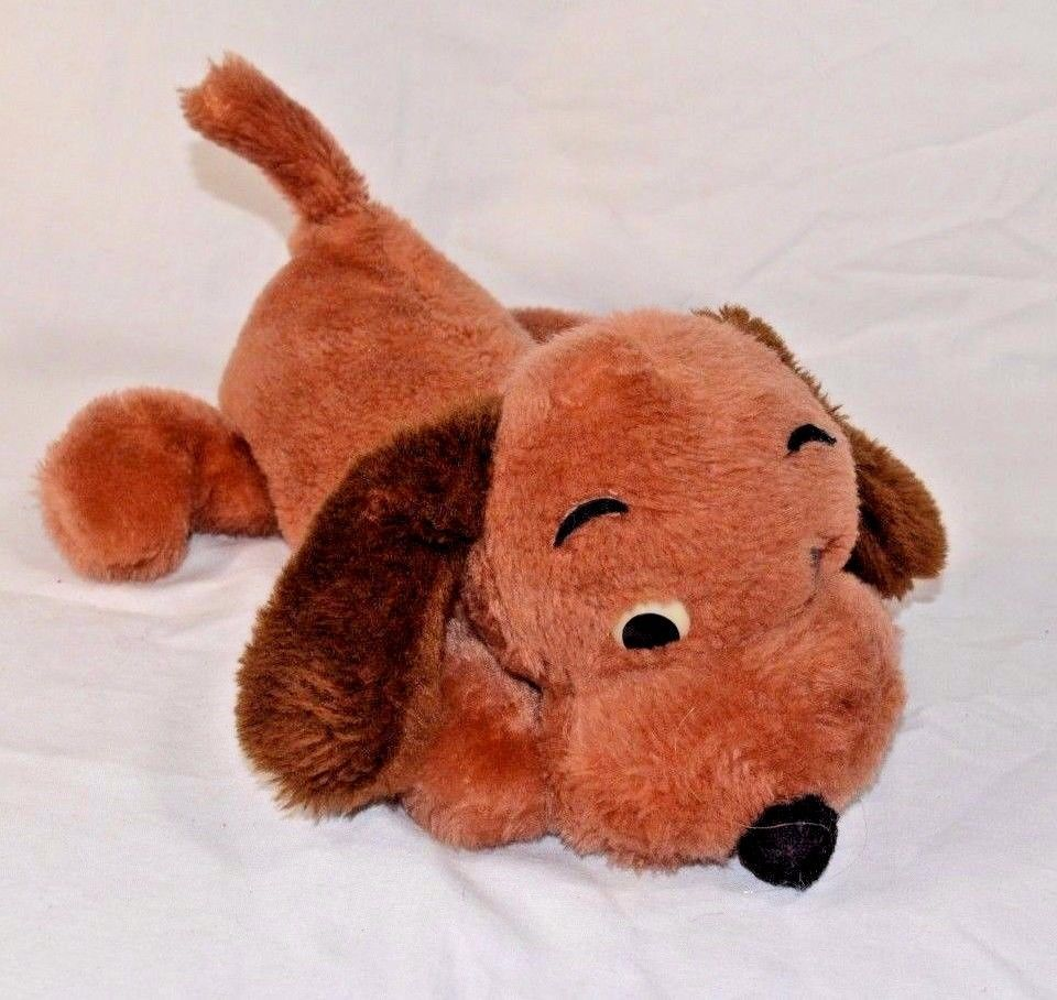 Dakin Brown Drooper Puppy Dog Toy Ground Nutshells Super Soft 1973