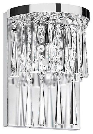 Dainolite JOS-7-2W 2-Light Crystal Wall Sconce, Polished Chrome/Crystal | Free Shipping