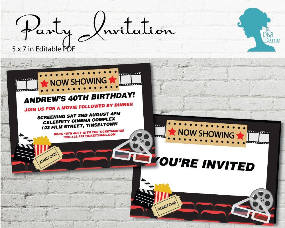 Movie Cinema Party Invitation $10AUD by The Digi Dame Printable ...