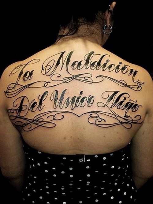 Calligraphy fonts tattoo on back women n letters