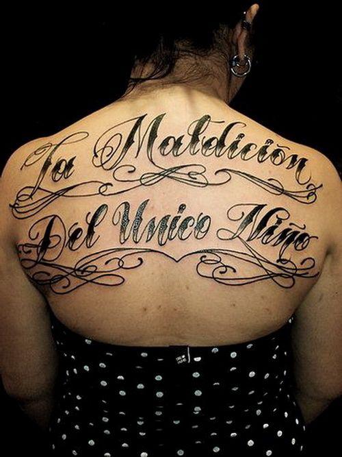 Calligraphy Fonts Tattoo On Back Women Tattoo Lettering Tattoo