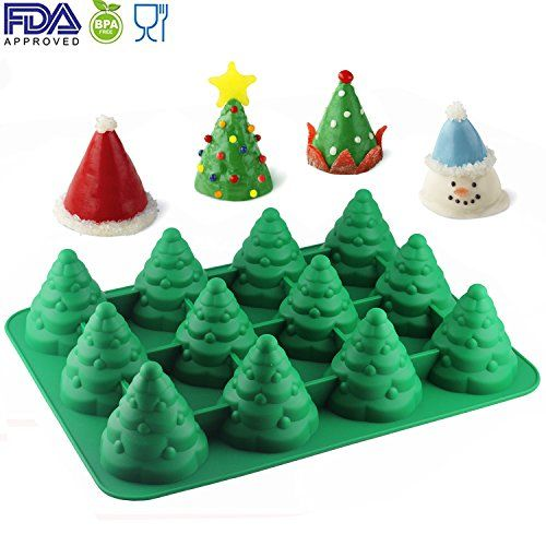 Mujiang Jumbo Size 12 Cavity Silicone 3d Christmas Tree Molds Xmas Tree Shaped Cake Candle Chocolat Chocolate Candle Cake Molds Silicone Cake Decorating Moulds