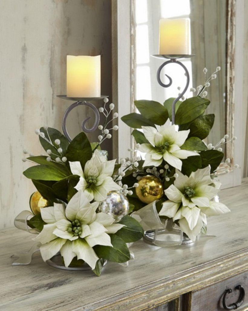 46 Totally Adorable White Christmas Floral Centerpieces Ideas