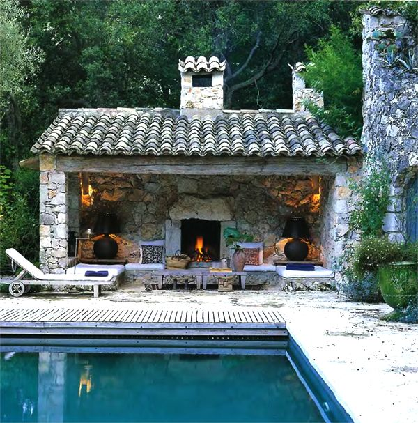 This Small Backyard Guest House Is Big On Ideas For: Open Sided Country House Pool With Fireplace. This Is A