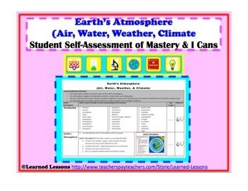 Earth Science EarthS Atmosphere Student SelfAssessment Of