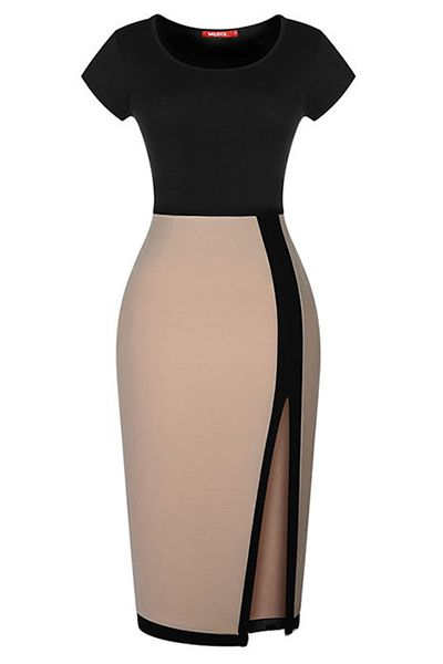 Euramerican O Neck Short Sleeves Patchwork High Slit Black Spandex Knee Length Dress