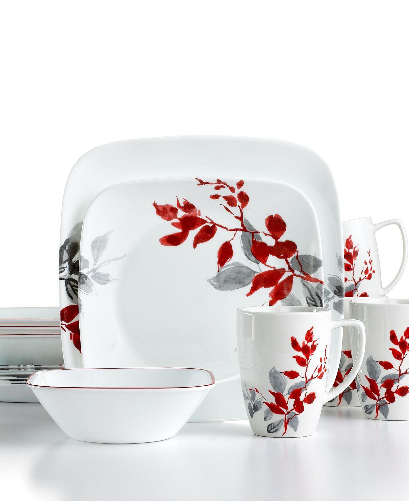 corelle kyoto leaves square 16 pc set service for 4 dinnerware
