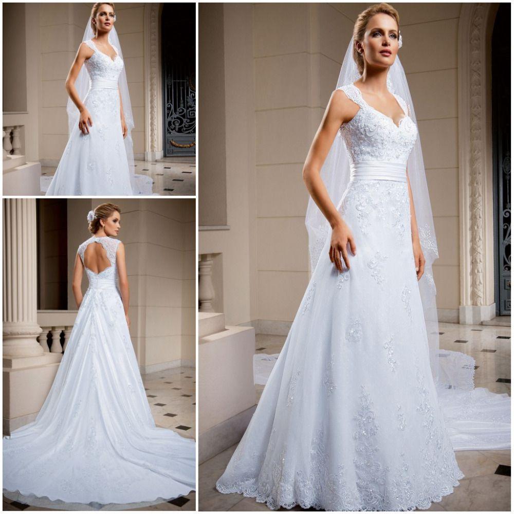 Lace Pnina Tornai Wedding Dresses Chapel Train vestido de noiva de ...