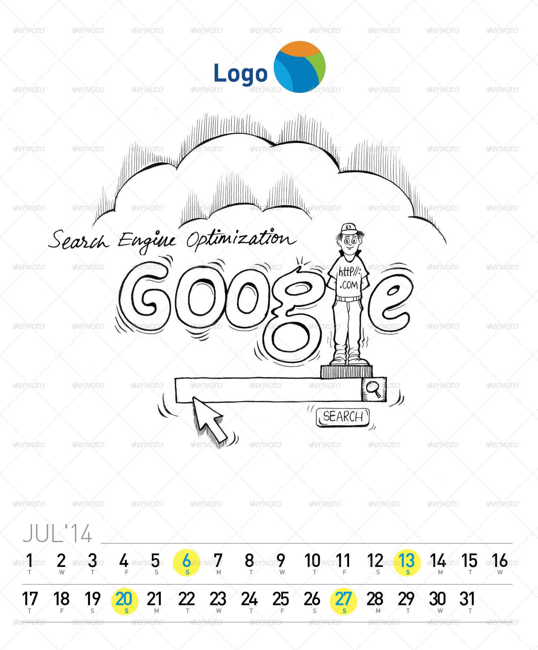 Creative 2014 Desk Calendar (with Illustration