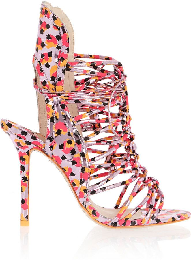 Sophia Webster Lacey Metallic Leather Sandals