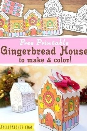 Printable gingerbread house template to color - Ay