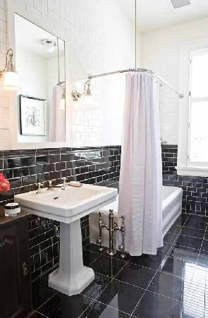 This Or That The Black White Bathroom Cococozy Black Tile Bathrooms Black And White Tiles Bathroom White Bathroom Tiles
