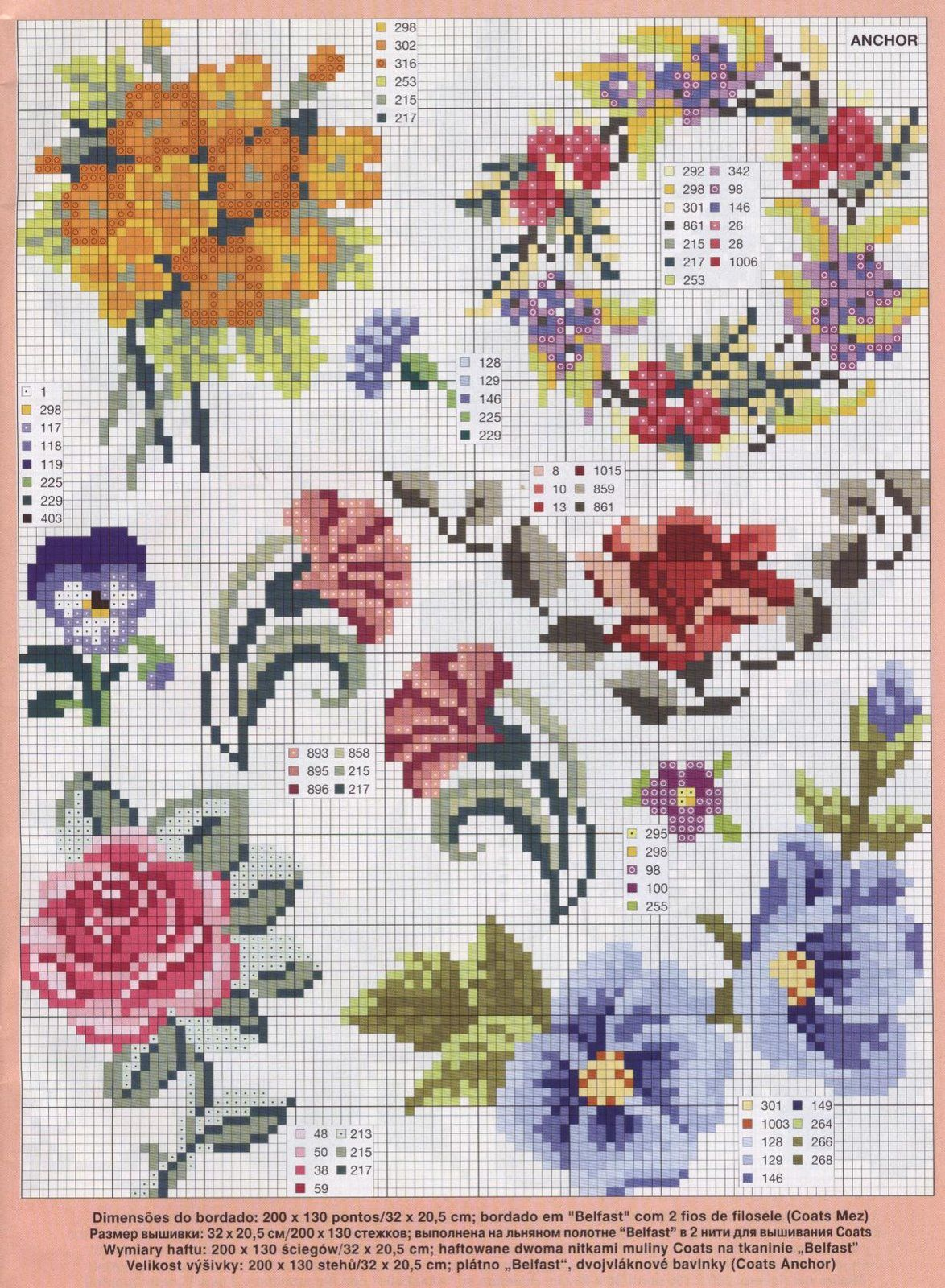 Схемы вышивки крестом цветы старинные