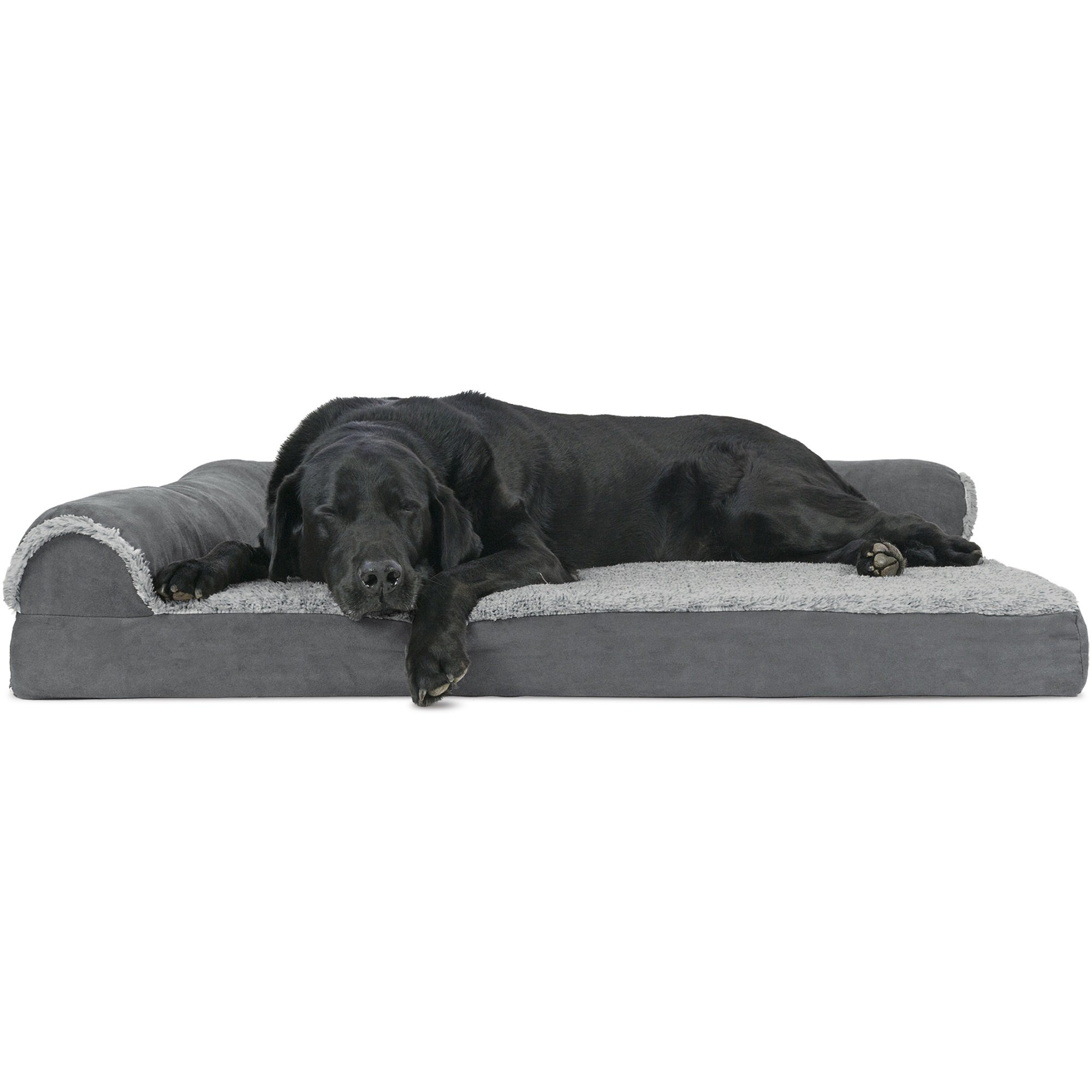 Furhaven Two Tone Faux Fur Suede Deluxe Chaise Lounge Orthopedic