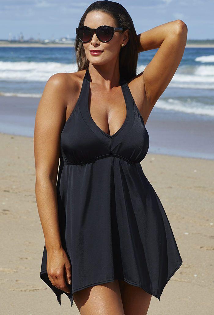 007271912b0 Black Handkerchief Halter 2 Piece Swimdress Set