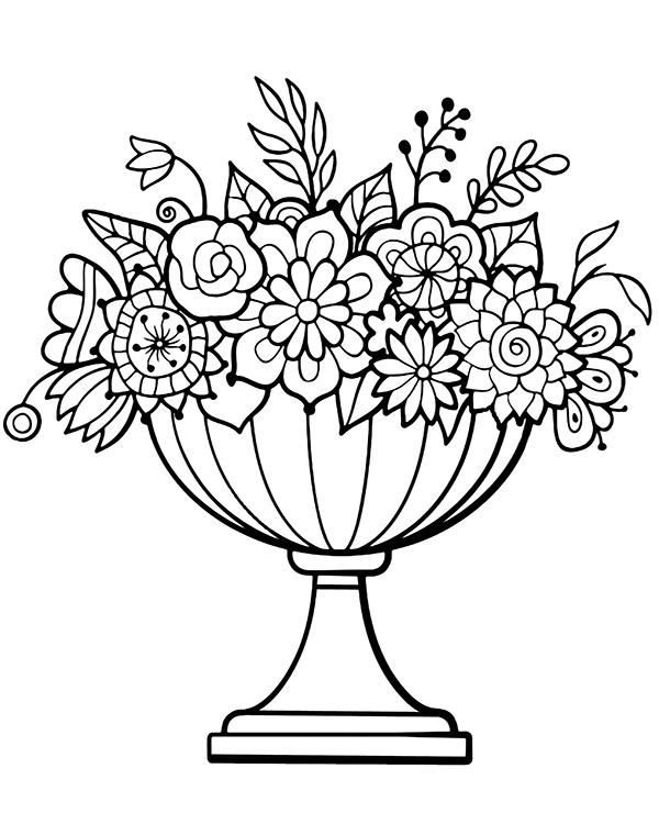 Duzy Bukiet Kwiatow W Donicy Malowanka Coloring Pages Flowers Flowers Bouquet