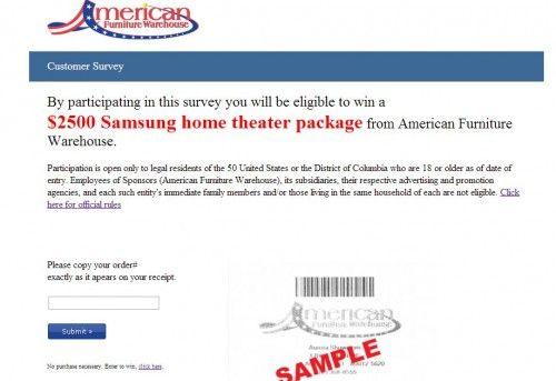American Furniture Warehouse Customer Feedback Survey, Www.afwonline.com /survey