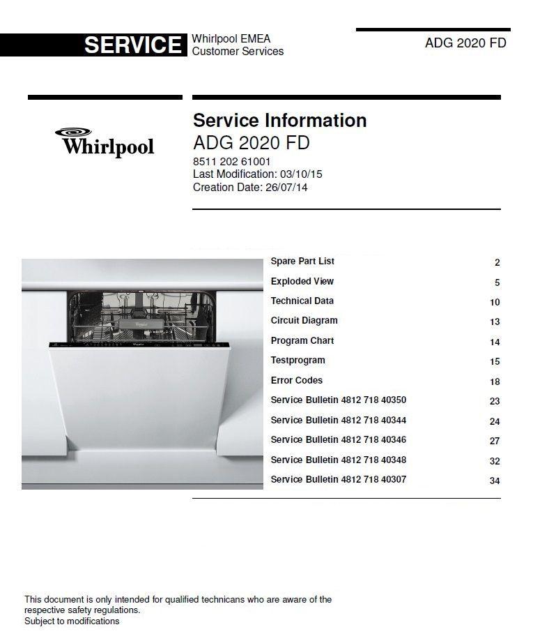 Whirlpool Adg 2020 Fd Dishwasher Service Manual Technicians Guide Dishwasher Service Technician Manual