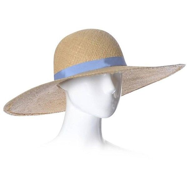 Preowned Ralph Lauren 1970s Vintage Straw Hat Wide Brim Blue Ribbon (€265) ❤ liked on Polyvore featuring accessories, hats, blue, 80s hats, wide straw hat, blue hat, wide brim straw hats and straw hat