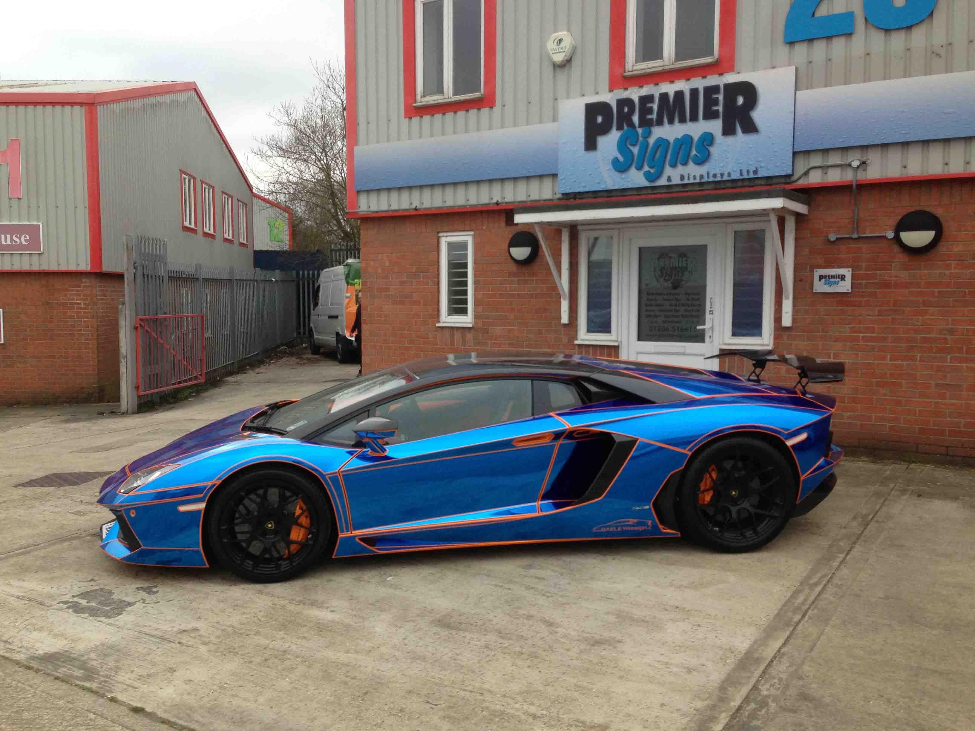 blue chrome tron style wrap by premier signs to orange oakley design lamborghini aventador lp760 - Lamborghini Aventador Blue Chrome