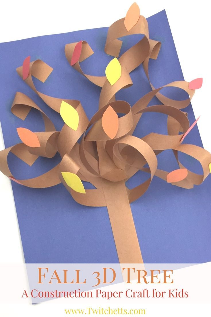 Fall 3D Construction Paper Tree ~ Autumn Crafts for Kids | Paper ...