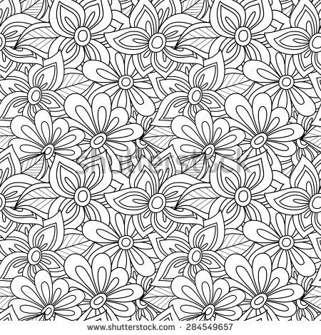 Vector Seamless Monochrome Floral Pattern. Hand Drawn Floral Texture ...