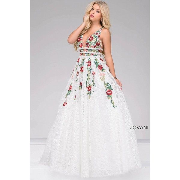 Ivory and Multi Embroidered V-Neck Prom Dress 48891 ❤ liked on ...
