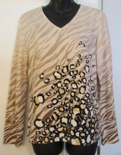 ONES NEW YORK Gold Shimmer Leopard Beige Ombre Tiger Stripes Top Shirt EUC - M