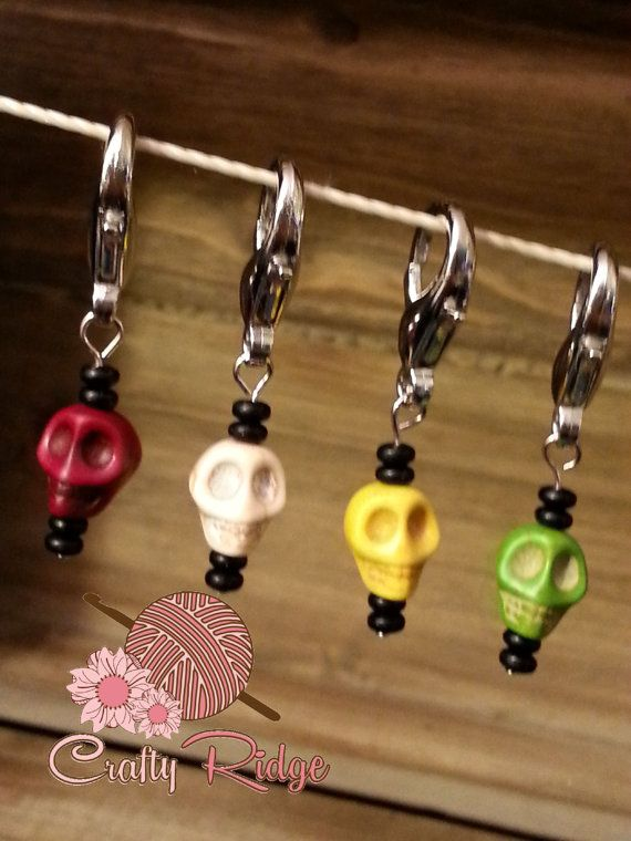 Colorful Skull Crochet Stitch Markers by CraftyRidge on Etsy