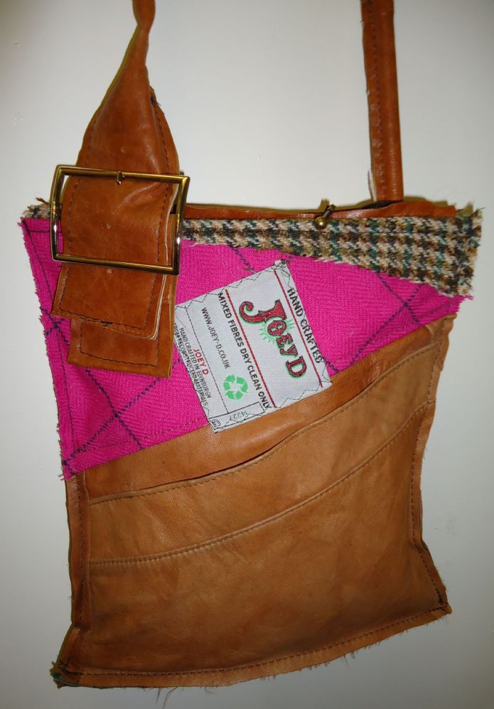 Joey D Leather And Pink Tweed Bag Handmade Handbags Bags Couture Accessories
