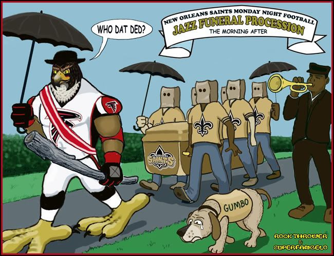 Saints Vs Falcons Funny Comment Who Dat Ded Cartoon Contest Winner Saints Vs Who Dat Football Memes